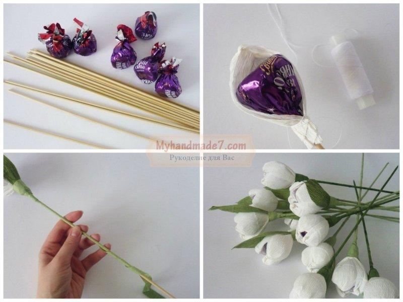Букеты из конфет своими руками фото пошагово
